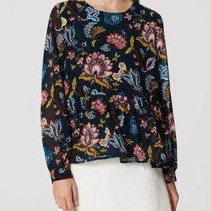 Ann Taylor LOFT Floral/Feather teal blouse Size XS